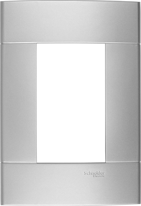 Placa 3 Postos Ártico Decor 044236 4x2 Prata Schneider