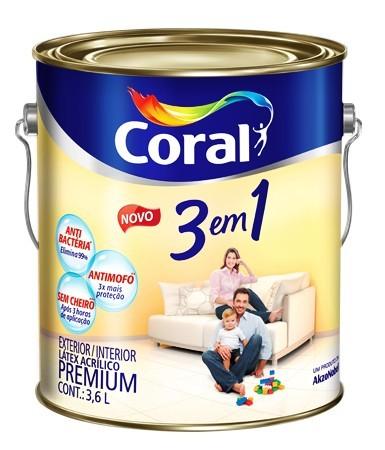 Tinta 3 em 1 Látex Premium 3,6 Litros Branco Coral