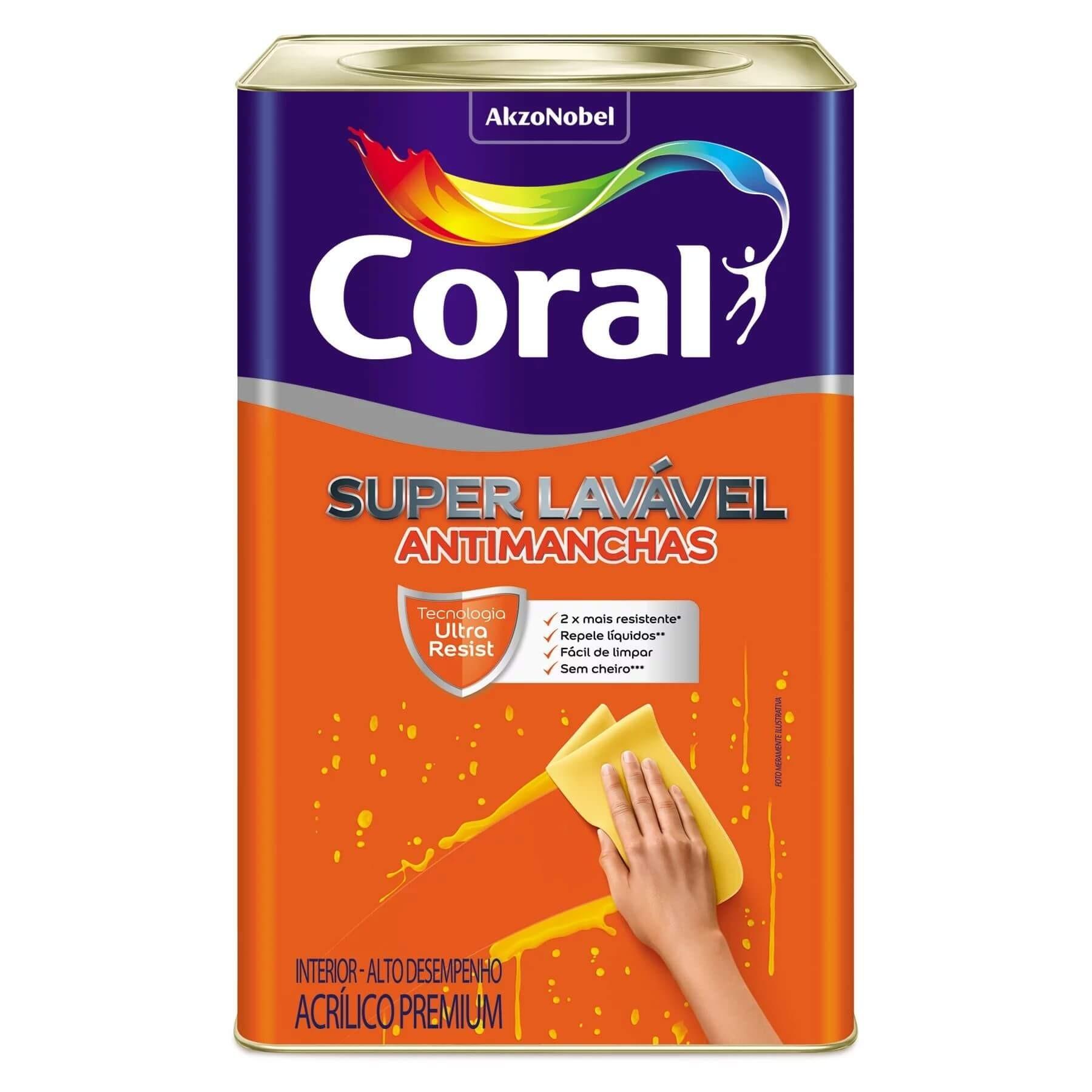 Tinta Acrílica Fosco Suave Super Lavável Branco 18L Coral