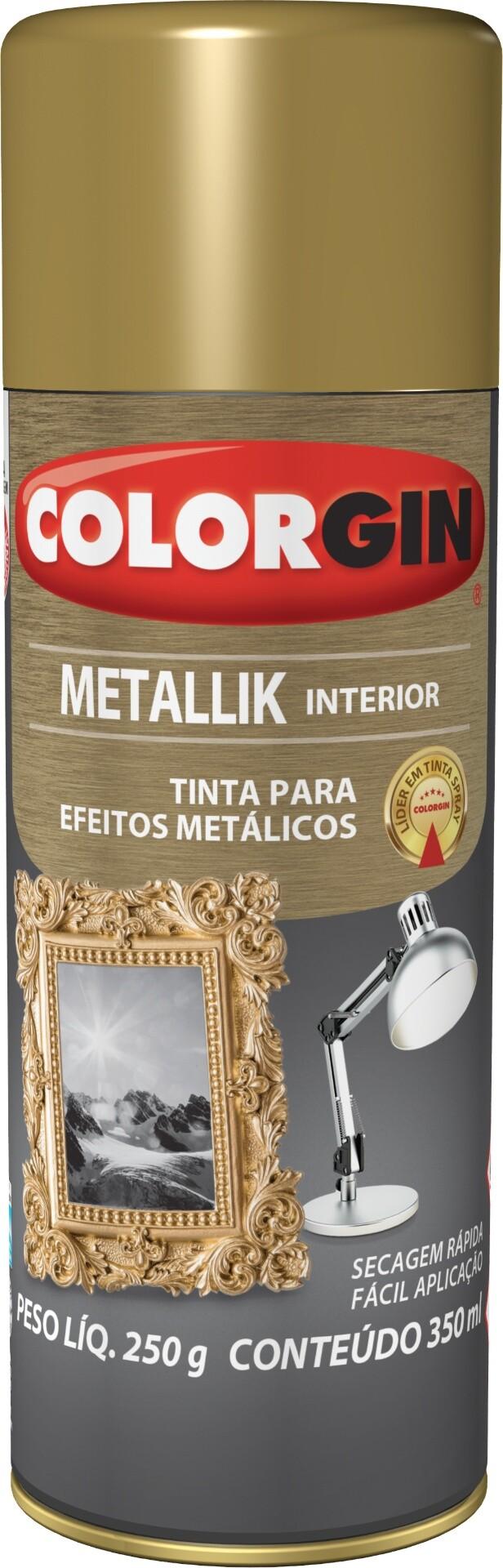 Tinta Spray Brilhante Metallik 350ml Ouro Colorgin