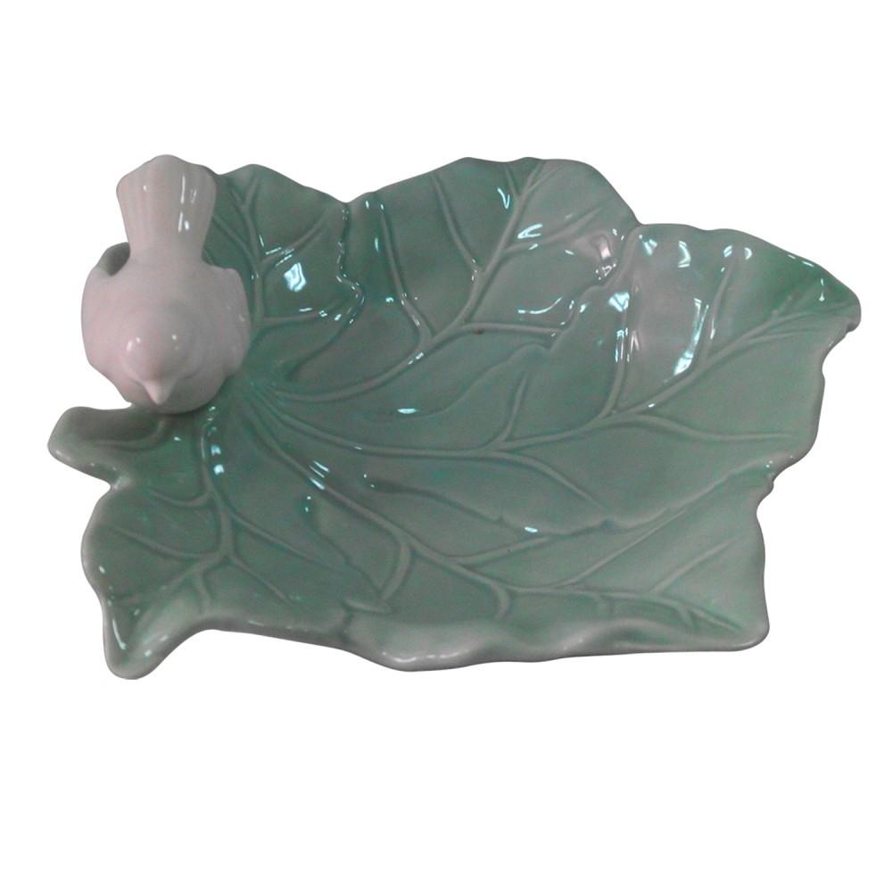Adorno Pássaro na Natura em Porcelana Verde Pequeno