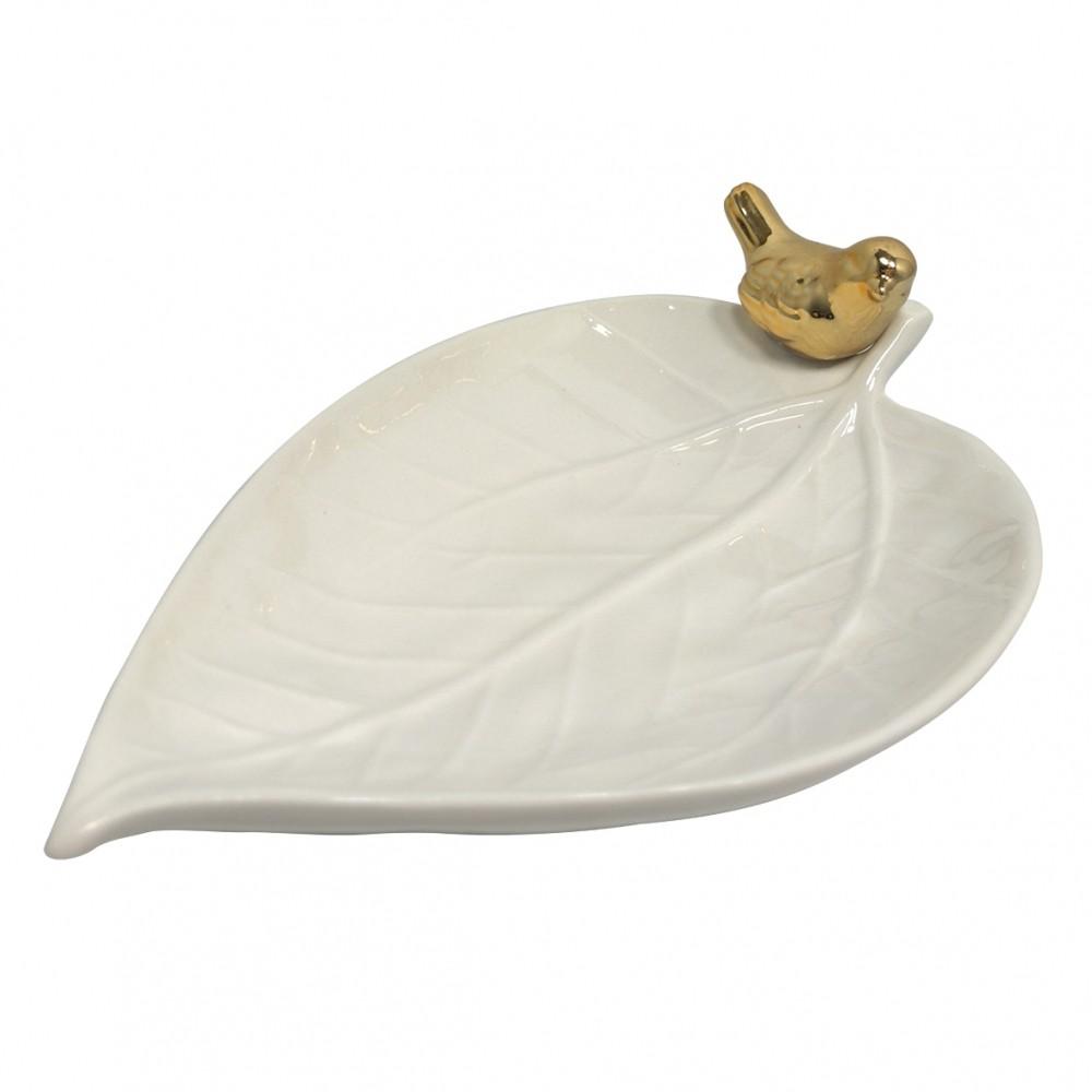 Prato Folha e Pássaro em Porcelana Pequeno