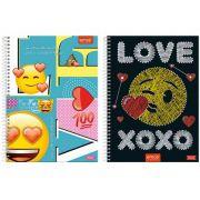 CADERNO CAPA DURA EMOJI LOVE 1X1 96 FOLHAS 6370 (NC)