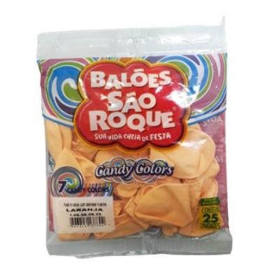BALAO CANDY N7 25 PEÇAS LARANJA