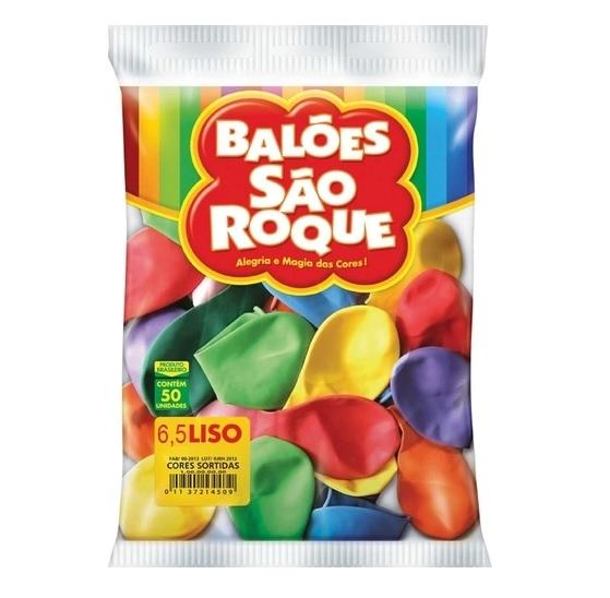 BALAO LISO CLASSICO COM 50 UNIDADES 6.5 SORTIDO
