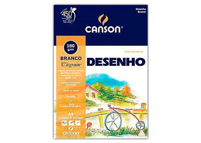 BLOCO DESENHO CANSON 20 FOLHAS A4 180G BRANCO