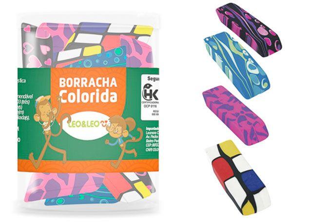 BORRACHA LEO&LEO 24 PEÇAS COLORIDA 4126