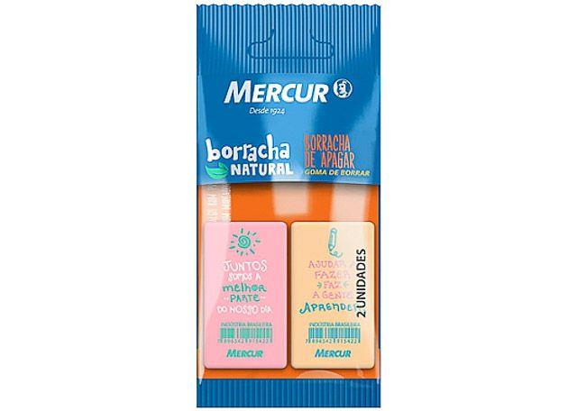 BORRACHA MERCUR RETANGULAR COLOR 2 PEÇAS ROSA E AMARELA 15583
