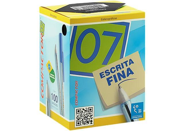 CANETA COMPACT 07 100 PEÇAS PRETO 851004