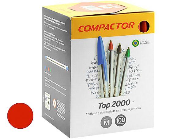 CANETA COMPACTOR TOP 2000 100 PEÇAS VERMELHA 852002
