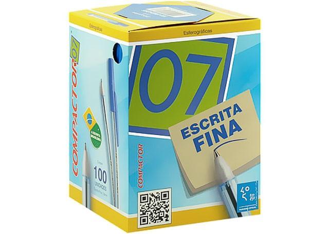 CANETA COMPACTOR 07 100 PEÇAS AZUL 851001