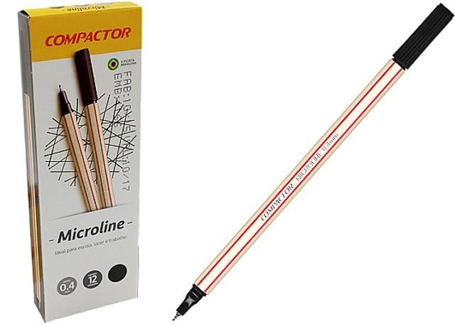 CANETA COMPACTOR MICROLINE 0,4 12 PEÇAS PRETA 1546004