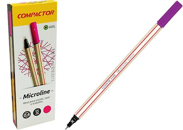 CANETA COMPACTOR MICROLINE 0,4 12 PEÇAS ROSA 1546014