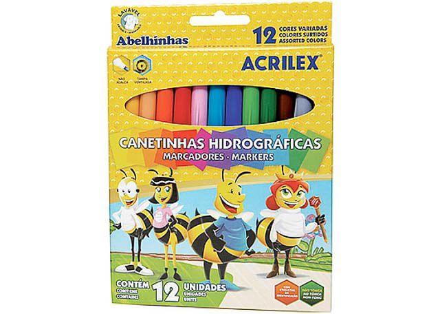 CANETINHAS ACRILEX ABELHINHAS 12 PEÇAS 9856