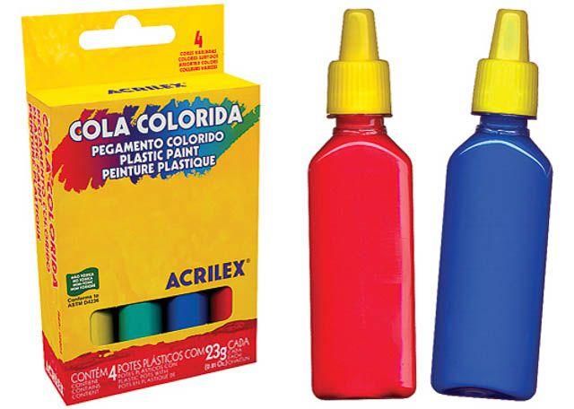 COLAS COLORIDAS ACRILEX 23G 4 PEÇAS 2604