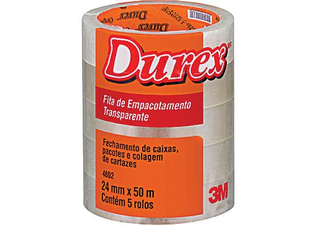 FITA 3M EMBALADORA DUREX 24X50 TRANSPARENTE 4802 5 PEÇAS
