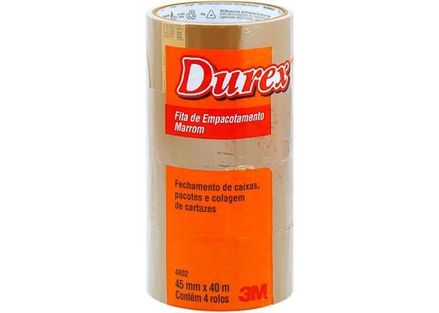 FITA 3M EMBALADORA DUREX 45X40 MARROM 4802 4 PEÇAS