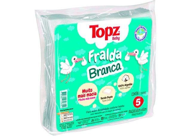 FRALDA TOPZ BABY CREMER 5 PEÇAS BRANCA 618709