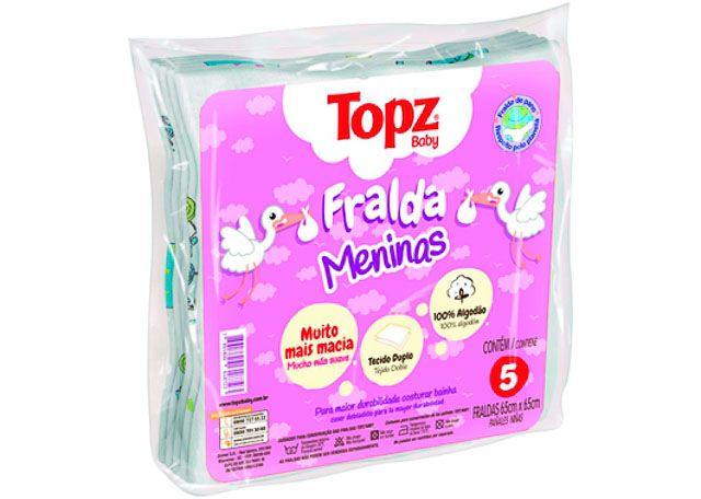 FRALDA TOPZ BABY CREMER 5 PEÇAS FEMININO 618723