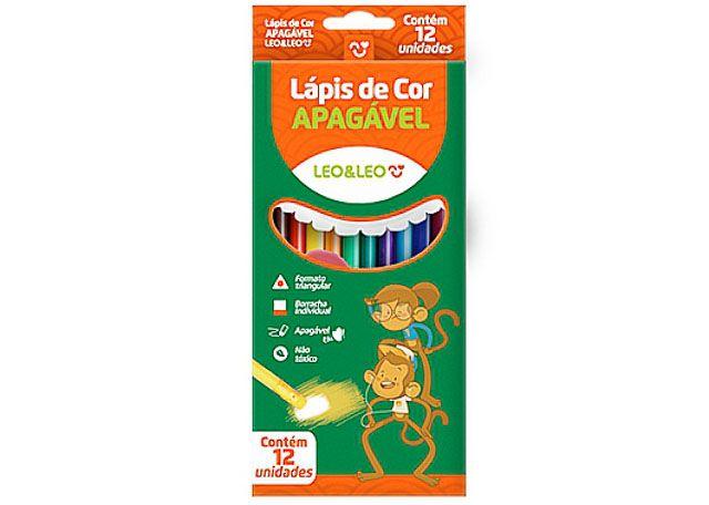 LÁPIS DE COR LEO&LEO APAGAVEL 12 CORES 72101