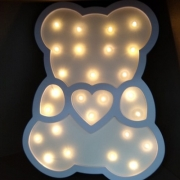 Luminária Led em MDF Urso Azul