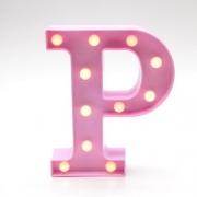 Luminária Led Letra P Rosa