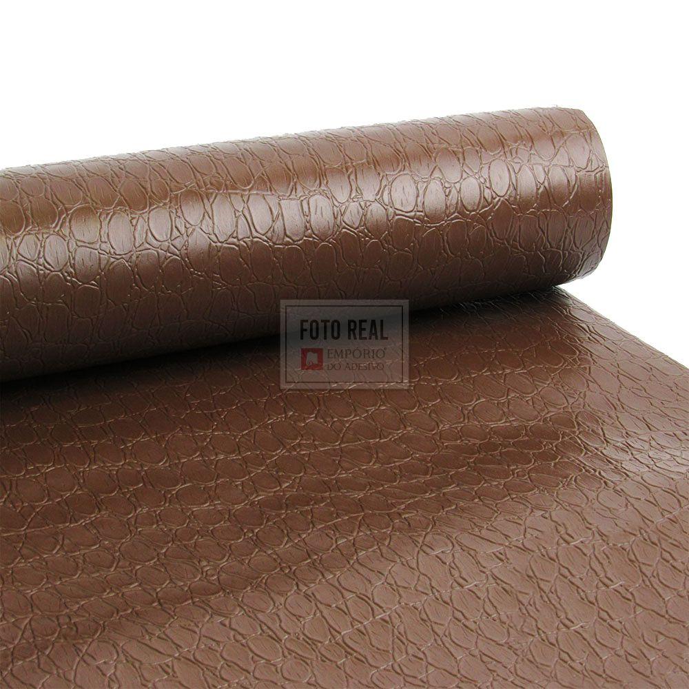 Adesivo Gold Couro Croco Chocolate 1,22m x 1,00m