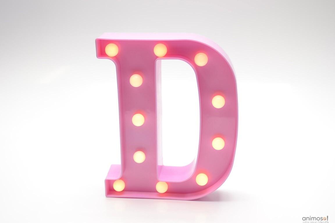 Luminária Led Letra D Rosa