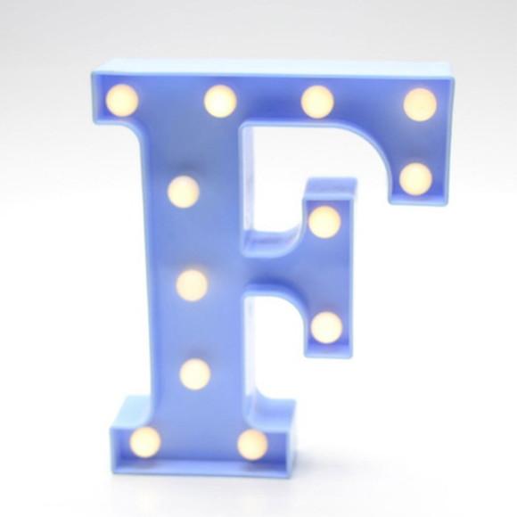 Luminária Led Letra F Azul