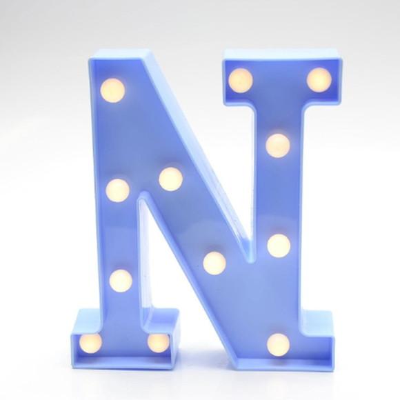 Luminária Led Letra N Azul