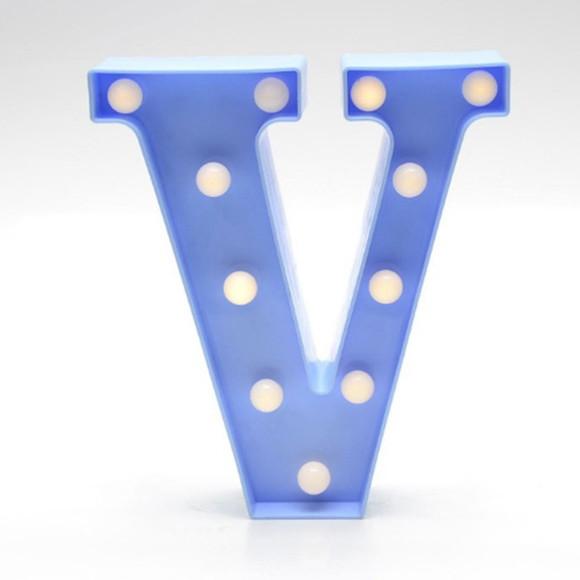 Luminária Led Letra V Azul