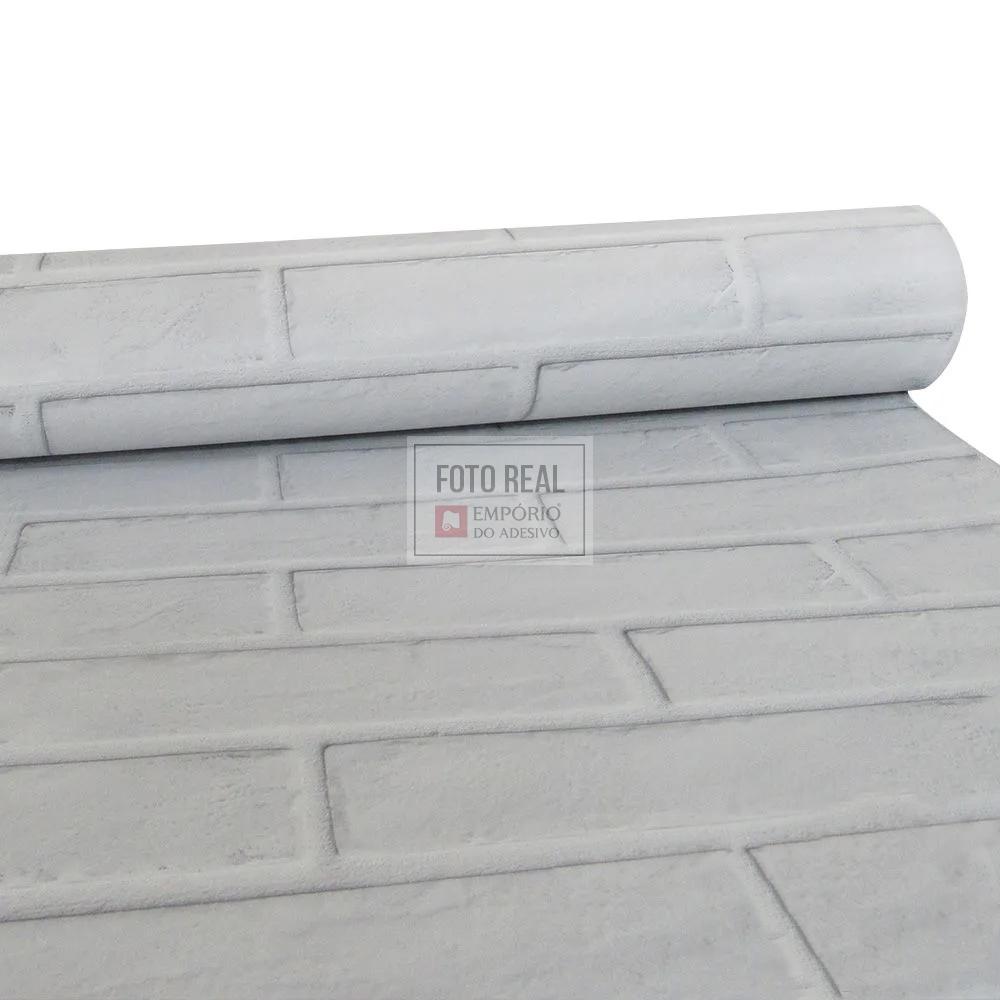 Papel de Parede Tacolado Tijolo Frisado Branco 0,47 x 2,60m