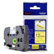 Fita Extra Forte p/ Rotulador Brother TZeS-631 Preto Sobre Amarelo 12mm