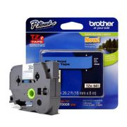 Fita Laminada p/ Rotulador Brother TZe-541 Preto Sobre Azul 18mm