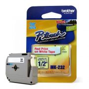 Fita para Rotulador Brother M-232 Vermelho Sobre Branco 12mm