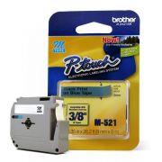 Fita para Rotulador Brother M-521 Preto Sobre Azul 09mm