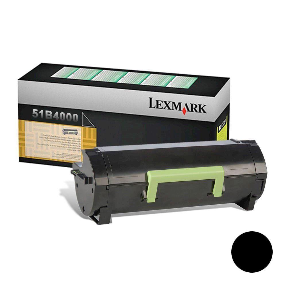 Cartucho de Toner Lexmark 51B4000 Preto p/ 2.500 Páginas  - Loja Gomaq