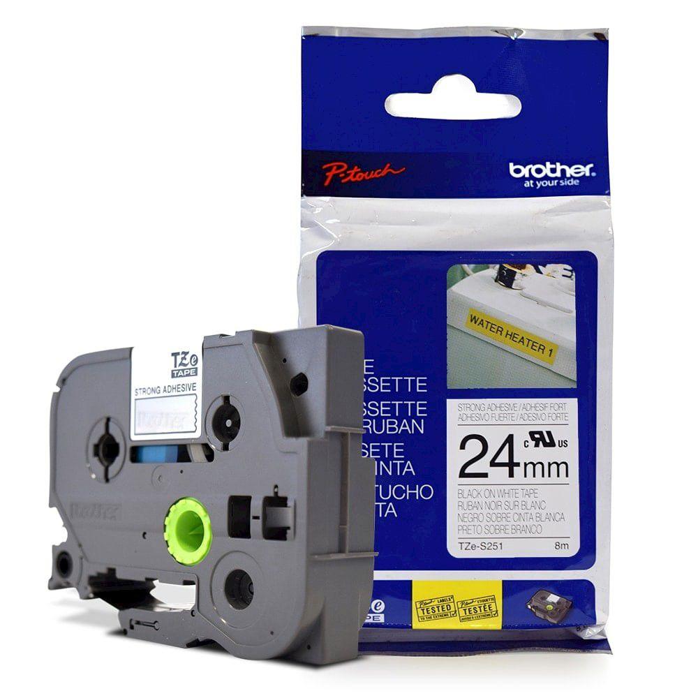 Fita Extra Forte p/ Rotulador Brother TZeS-251 Preto Sobre Branca 24mm  - Loja Gomaq