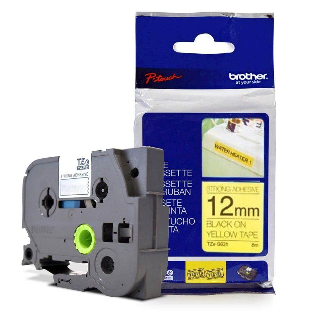 Fita Extra Forte p/ Rotulador Brother TZeS-631 Preto Sobre Amarelo 12mm  - Loja Gomaq