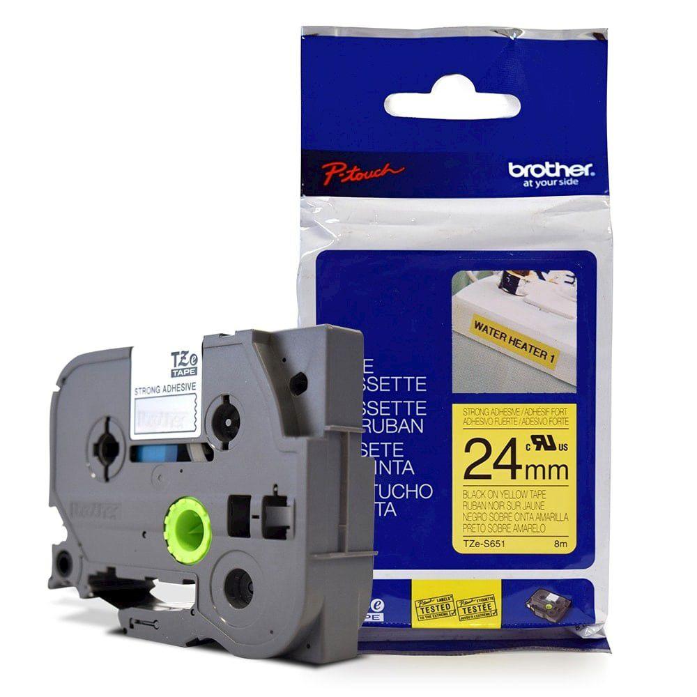 Fita Extra Forte p/ Rotulador Brother TZeS-651 Preto Sobre Amarelo 24mm  - Loja Gomaq