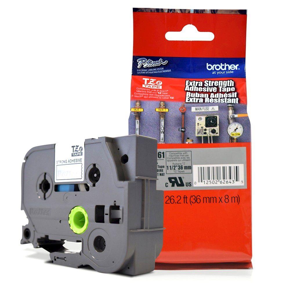 Fita Extra Forte p/ Rotulador Brother TZeS-961 Preto Sobre Prateada 36mm  - Loja Gomaq