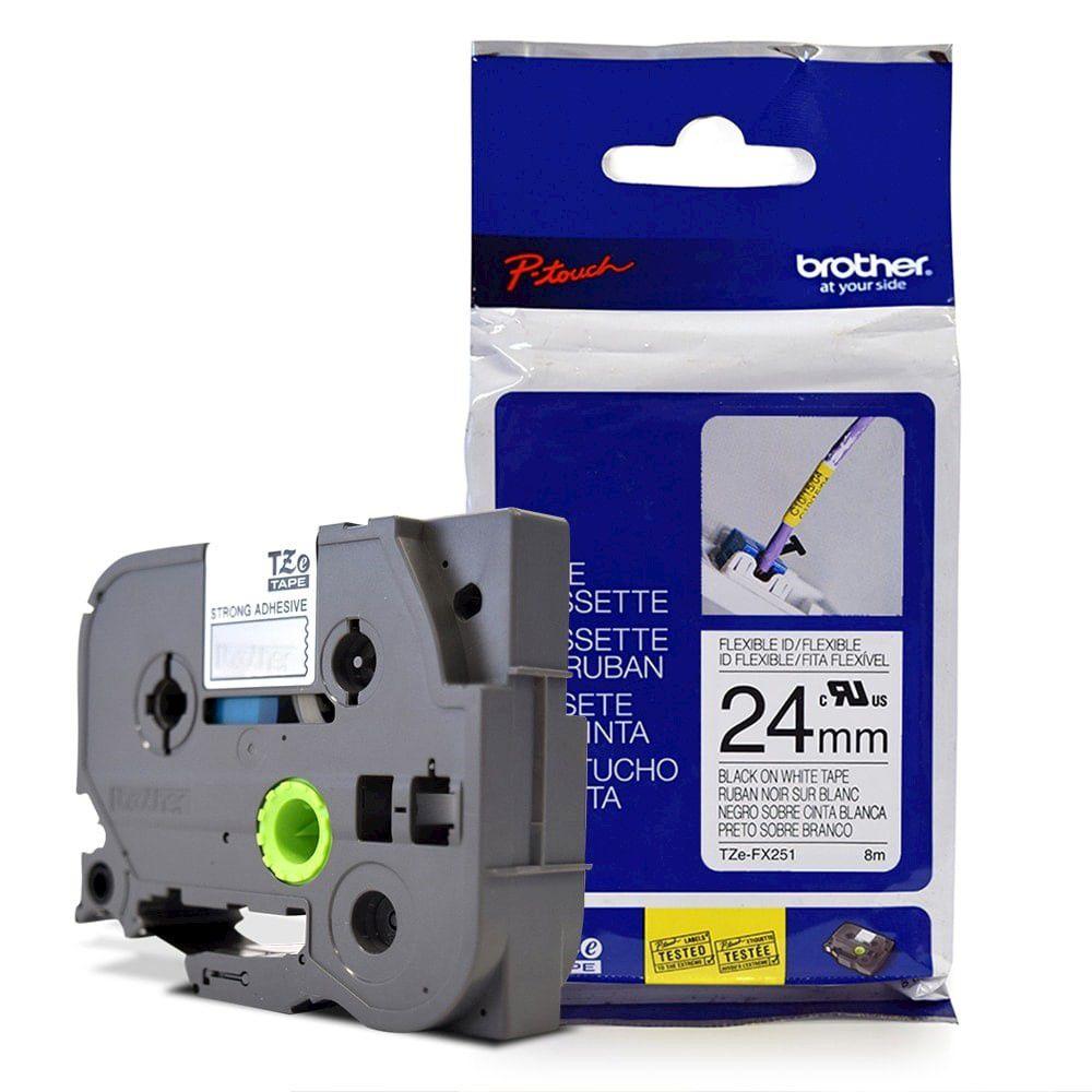 Fita Flexível p/ Rotulador Brother TZeFX-251 Preto Sobre Branca 24mm  - Loja Gomaq