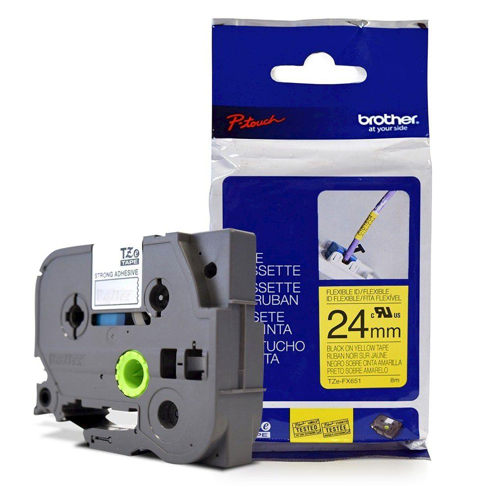 Fita Flexível p/ Rotulador Brother TZeFX-651 Preto Sobre Amarelo 24mm  - Loja Gomaq