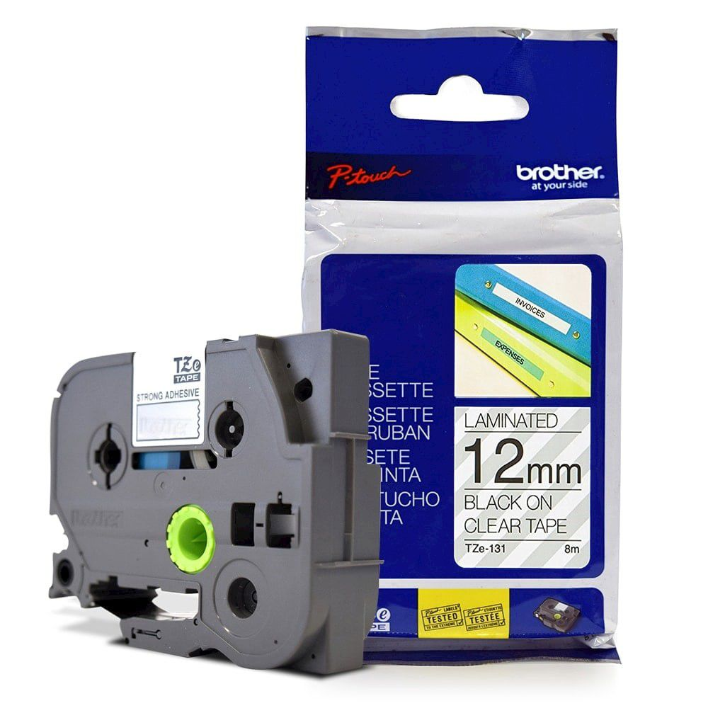 Fita Laminada p/ Rotulador Brother TZe-131 Preto Sobre Transparente 12mm  - Loja Gomaq