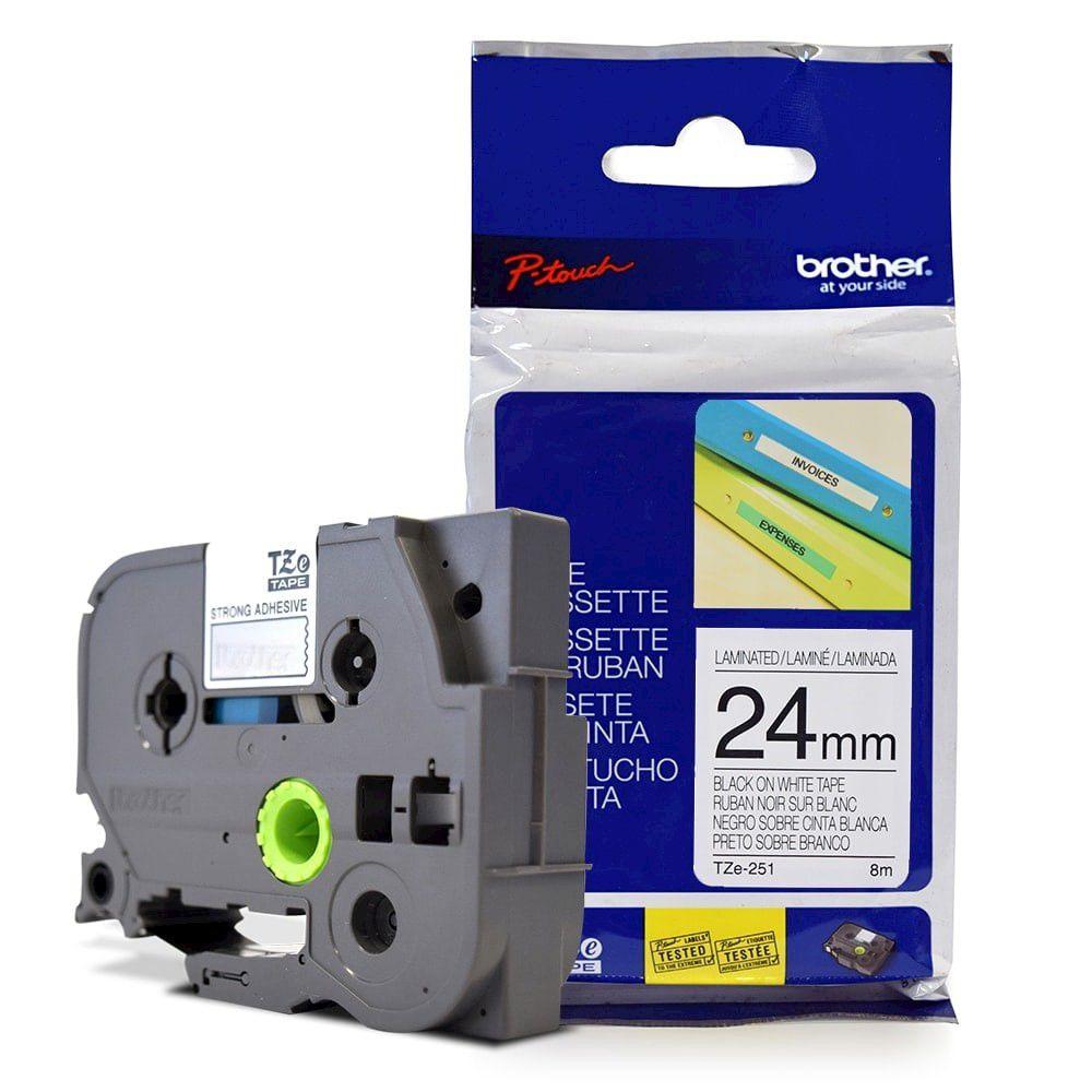 Fita Laminada p/ Rotulador Brother TZe-251 Preto Sobre Branca 24mm  - Loja Gomaq