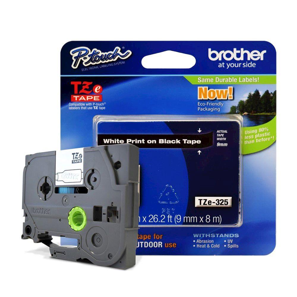 Fita Laminada p/ Rotulador Brother TZe-325 Branco Sobre Preto 09mm  - Loja Gomaq