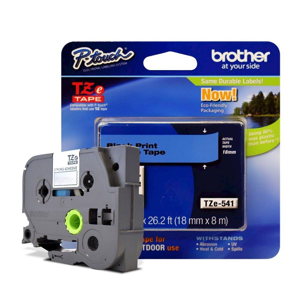 Fita Laminada p/ Rotulador Brother TZe-541 Preto Sobre Azul 18mm  - Loja Gomaq