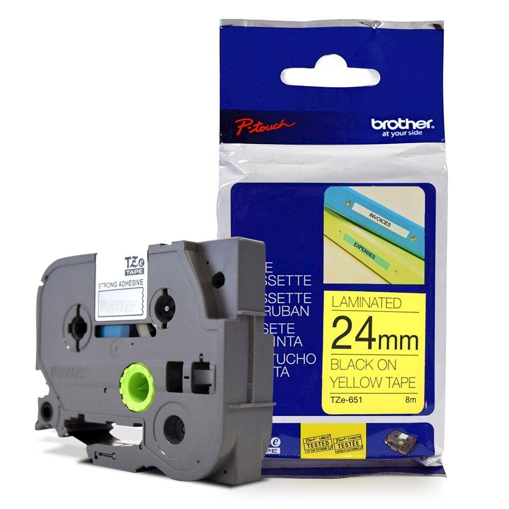 Fita Laminada p/ Rotulador Brother TZe-651 Preto Sobre Amarelo 24mm  - Loja Gomaq