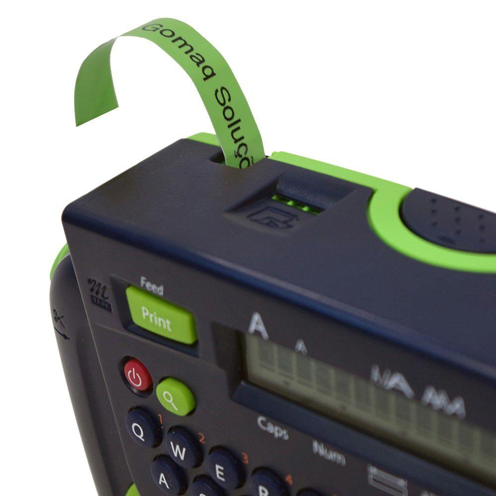 Fita p/ Rotulador Brother M-731 Preto Sobre Verde 12mm  - Loja Gomaq