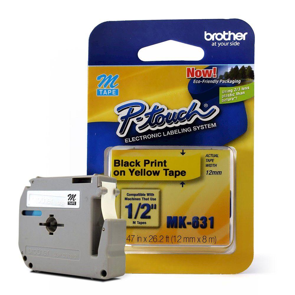 Fita para Rotulador Brother MK-631 Preto Sobre Amarelo 12mm  - Loja Gomaq
